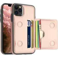 LakiBeibi iPhone 11 Pro Max Case with Card Holders, Dual Layer Lightweight PU Leather iPhone 11 Pro Max Phone Case Wallet Folio Flip Durable Protective Case for iPhone 11 Pro Max (2019), Rose Gold