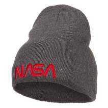 NASA Letter Logo Embroidered Stretch ECO Cotton Short Beanie