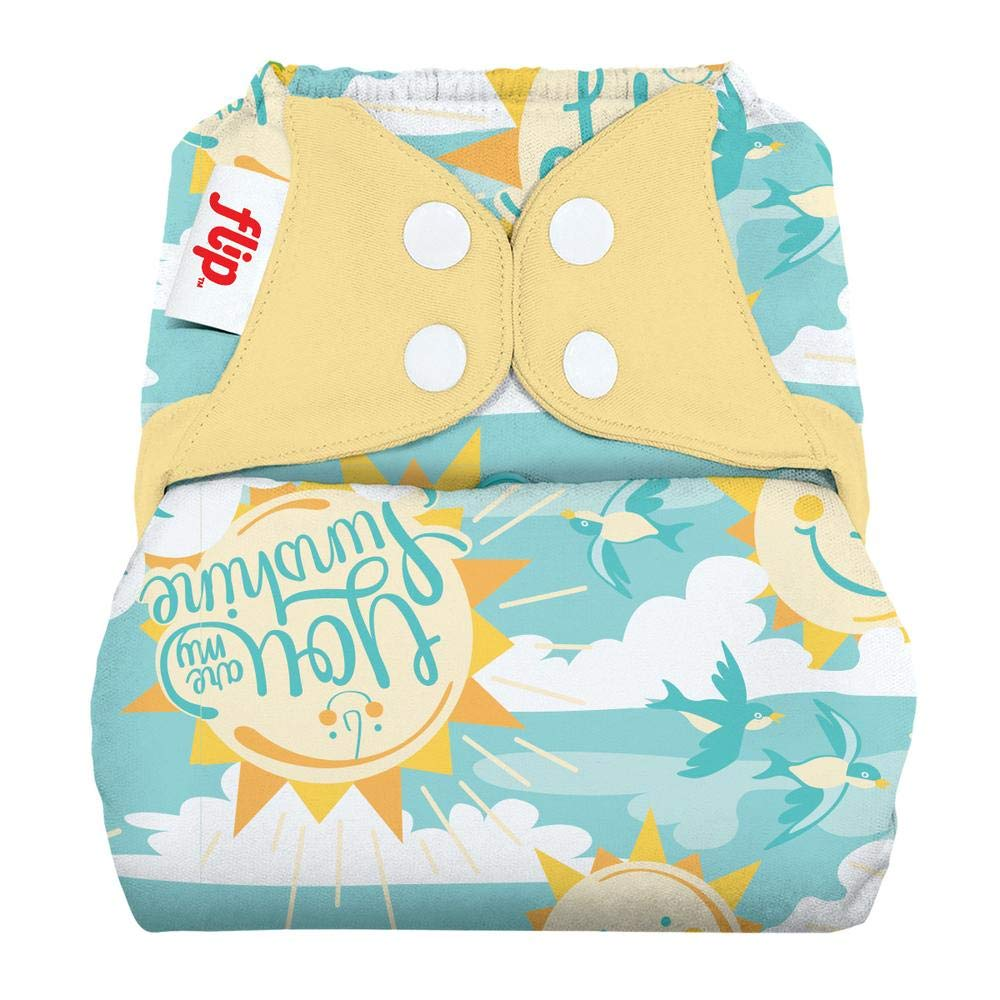Flip Hybrid Reusable Cloth Diaper Cover with Adjustable Snaps and Stretchy Tabs - Fits Babies from 8 to 35+ Pounds (My Sun)