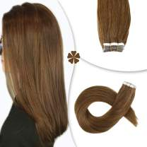 Hetto 20 Inch Tape in Remy Human Hair Extensions 100% Real Hair 20Pcs/50G #8 Brown Double Sided Tape Skin Weft Extensions for Short Hair