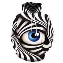 KYKU Eye Hoodies for Men 3D Graphics Black and White Sweatshirt Pullover Hooded