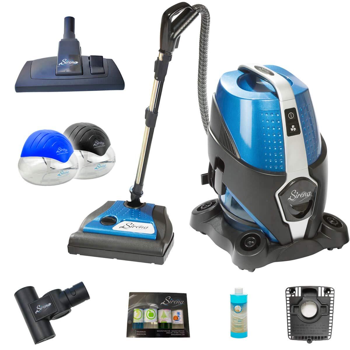 Sirena Bagless Vacuum Cleaner Premium Pack - Lightweight Water Filtration Pet Vacuum - Bonus 2 Twister Air Purifiers, HEPA Filter and Turbo Brush - Hardwood Floor Sweeper and Pet Hair Cleaner