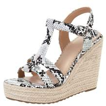 Waucuw Women's Platform T-Strap Heels Wedge Sandals