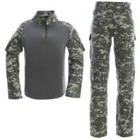 LANBAOSI Men's Tactical Combat Shirt and Pants Set Long Sleeve Multicam Woodland BDU Hunting Military Uniform 1/4 Zip