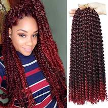 UNA 7 packs Passion Twist Hair Water Wave Crochet Braids for Passion Twist Crochet Hair Passion Twist Braiding Hair (18inch,7packs, TBUG)