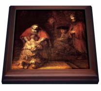 "3dRose trv_203890_1 Print of Rembrandt Painting The Prodigal Son Trivet with Ceramic Tile, 8"" x 8"", Brown"