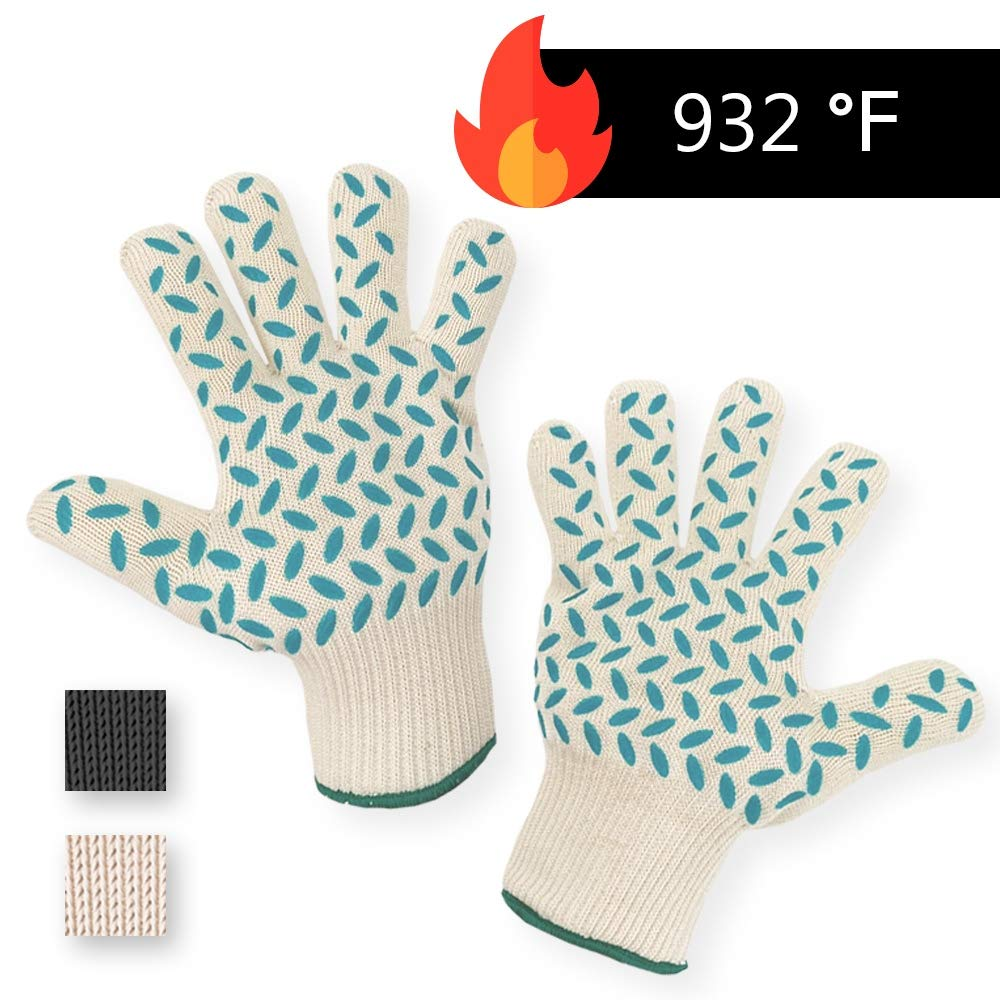 1 PAIR Heat Resistant Gloves Oven Gloves Heat Resistant BBQ Gloves For Grilling BBQ Gloves Heat Resistant Cooking Heat Resistant Gloves Kitchen Heat Gloves High Temp Grill Gloves with Silicone