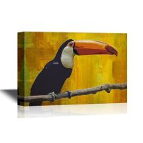 wall26 - Wild Animal Canvas Wall Art - A Toucan Standing on The Tree Branch - Gallery Wrap Modern Home Decor | Ready to Hang - 12x18 inches