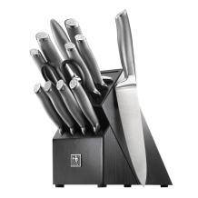 J.A. Henckels International Modernist 13-pc Kitchen Knife Set with Block, Chef Knife, Steak Knife, Bread Knife, Black