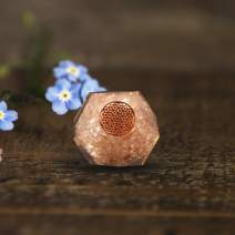 Crocon Natural Rose quartz Crystal Orgone Dodecahedron with Wooden Holder | Flower of Life Symbol | Reiki Healing | Meditation | EMF Protection | Home & Office Decor | Size Approx : 45-51 mm