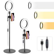 """Ring Light with Stand and Cell Phone Holder - Tryone 8"""" LED Selfie Ring Light Camera Stand for Live Stream/Makeup/YouTube Video, Compatible with iPhone/Android Phones, Height from 26.2-73.4 Inches"""