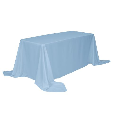 VEEYOO Rectangle Tablecloth - 90 x 156 Inch Polyester Table Cloth for 8 Foot Table - Soft Washable Oblong Baby Blue Table Cloths for Wedding, Parties, Restaurant, Dinner, Buffet Table and More