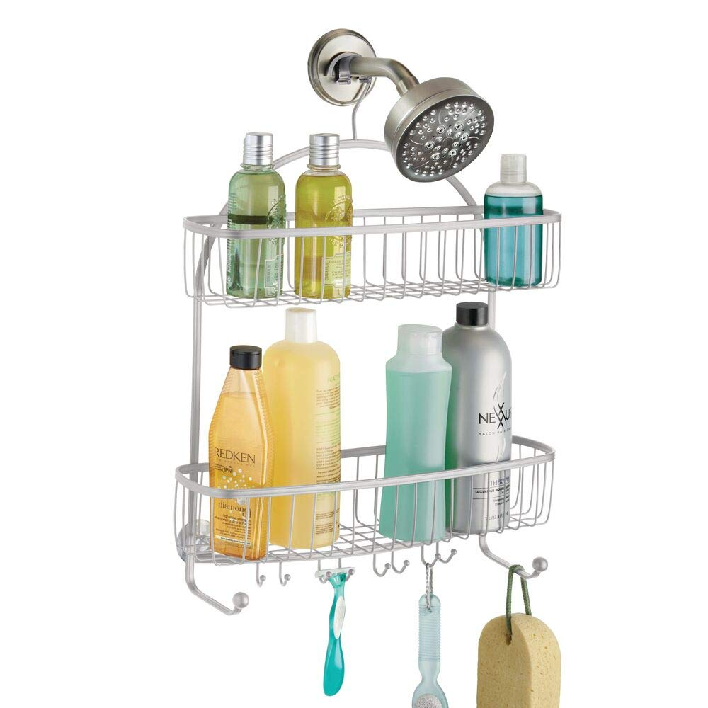mDesign Extra Wide Metal Wire Bathroom Tub & Shower Caddy, Hanging Storage Organizer Center with Built-in Hooks and Baskets on 2 Levels for Shampoo, Body Wash, Loofahs - Rust Resistant - Satin