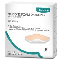 """Silicone Adhesive Foam Dressing Without Border Waterproof Patch 4""""x 4""""(10 cm x 10 cm) Highly Absorbent Square Pads for Wound Care 5 Pack"""