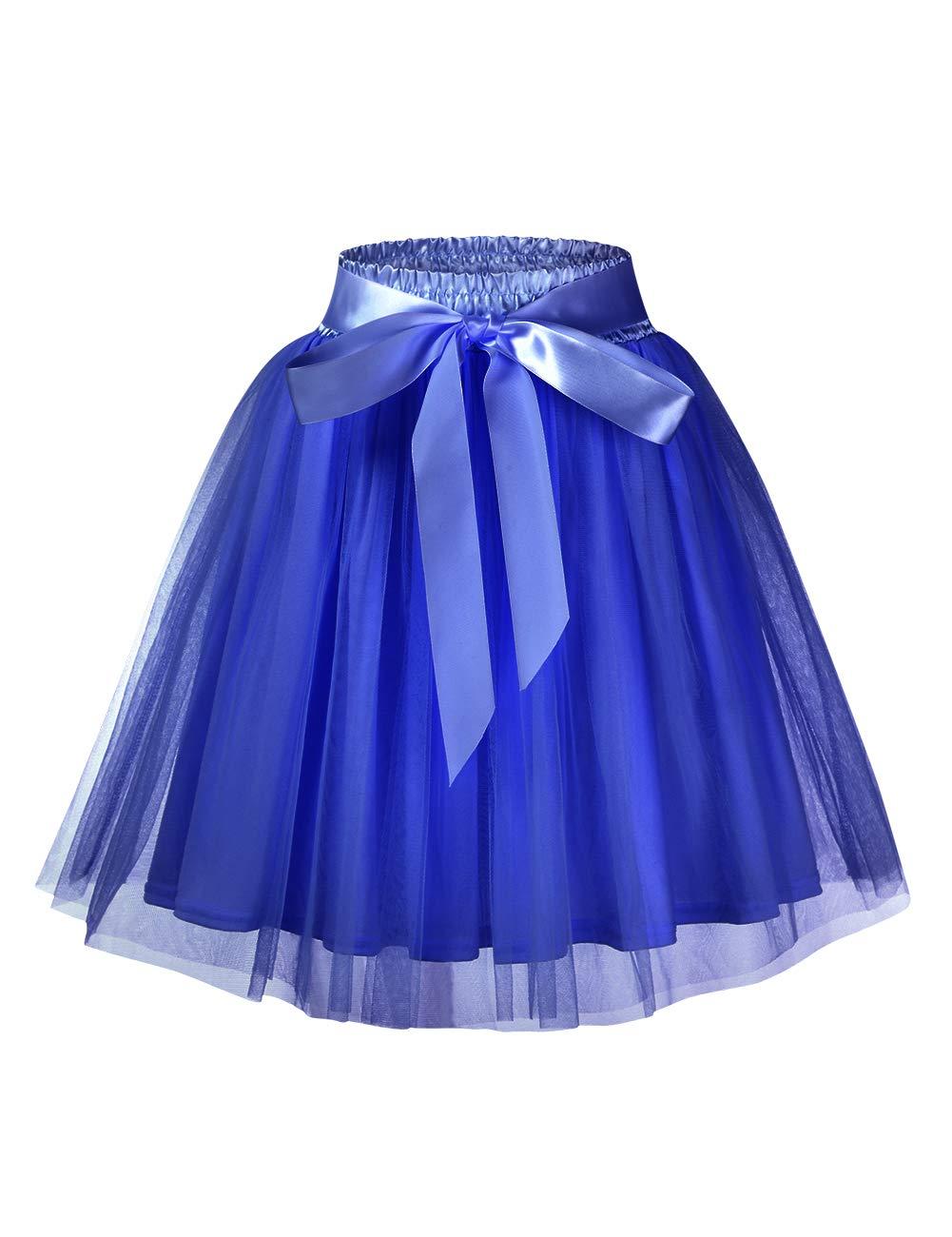 GlorySunshine Women's A Line Princess Tulle Wedding Prom Party Tutu Skirt Printed Ruffles Polka Dot Casual Skirt