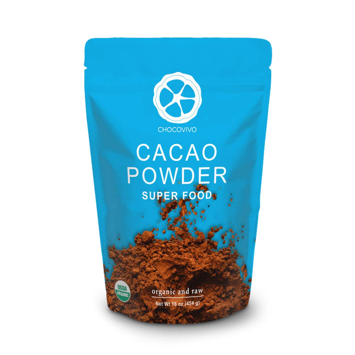 ChocoVivo Organic Raw Cacao Cocoa Powder Bulk - Superfood Packed with Natural Antioxidants Fiber and Flavanols for Healthy Immune System, 16 Ounces