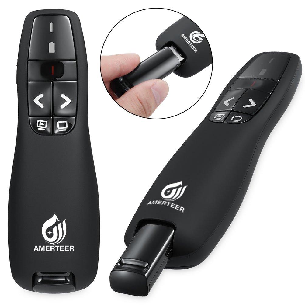 AMERTEER RF 2.4GHz Wireless USB PowerPoint PPT Presenter Presentation Remote Control Laser Pointer Clicker Flip Pen