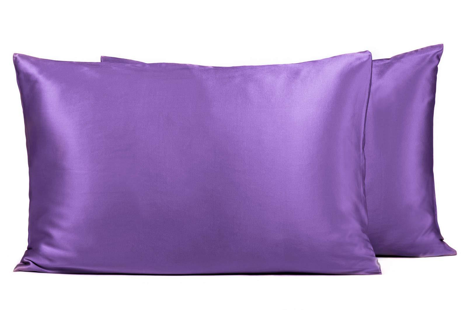 Fishers Finery25mm Mulberry Silk QueenPillowcase, Good Housekeeping Winner (Deep Lavender, Queen 2 Pack)