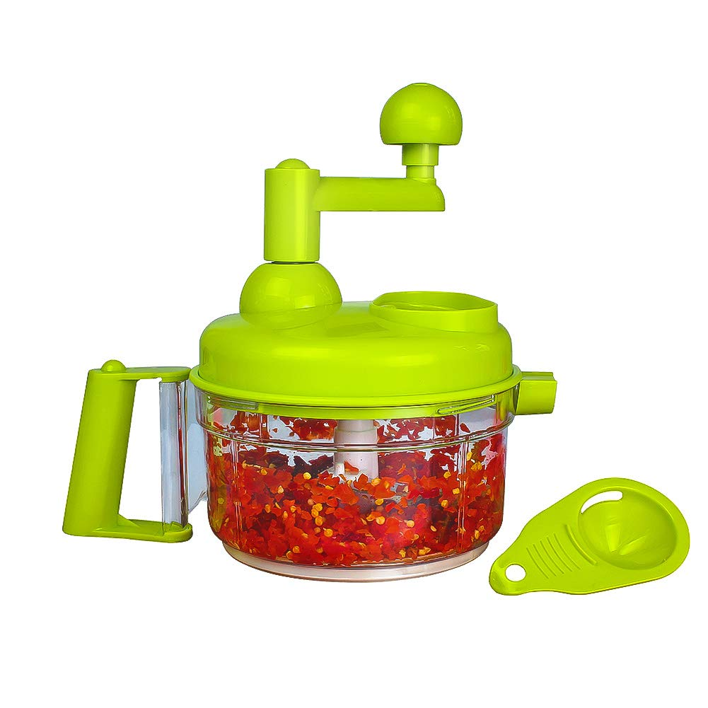 Cambom Manual Vegetable Cutter Food Processor 8 in 1 - Chopper, Mixer, Blender, Whipper, Egg Separator, Mincer, Grinder, Dicer with Clear Container 1200ml BPA Free