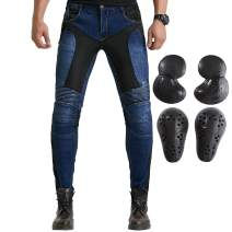 Summer Mesh Motorcycle Riding Jeans With Armor Motocross Racing Slim Stretch Pants (XL=34, Blue)