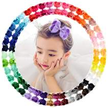 40Pcs 4.5 inch Baby Girls Toddler Hair Bows with Alligator Clip Grosgrain Barrettes Bundles Accessories for Infant