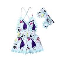 Toddler Kids Baby Girl Off Shoulder Dress Halter Dress Floral Ruffle Shorts Overalls Summer Clothes