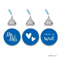 Andaz Press Chocolate Drop Labels Trio, Fits Hershey's Kisses, Wedding Mr. & Mrs, Royal Blue, 216-Pack, for Bridal Shower, Engagement Party Favors, Gifts, Stationery, Envelopes, Decor, Decorations