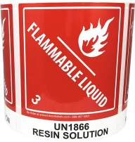Laminated UN1866 Resin Solution Paint Flammable Liquid Hazard Class 3 Pre-Printed Labels 4 x 4.75 Inch 500 Total Stickers on a Roll