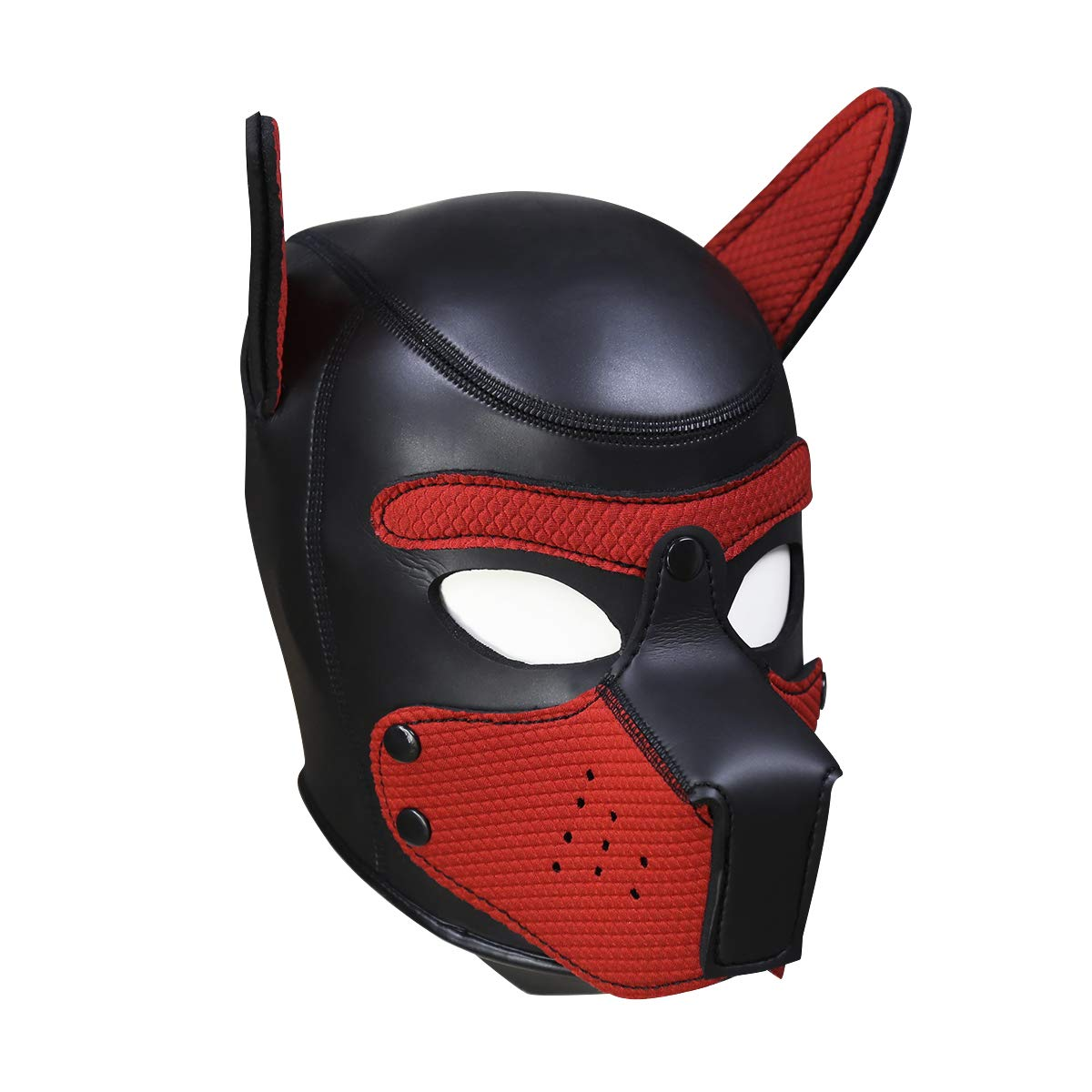 XuShaNeoprene Puppy Full Face Mask Dog Hood Pet Hat Removable Mouth Cosplay Party Props Animal Imitation (L + Red)