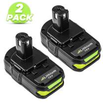 P102 2.5Ah Replacement for Ryobi 18V One Plus Lithium Battery One+ Compact 18 Volt Power Cordless Tools P103 P105 P107 P108 P109 P122-2 Pack