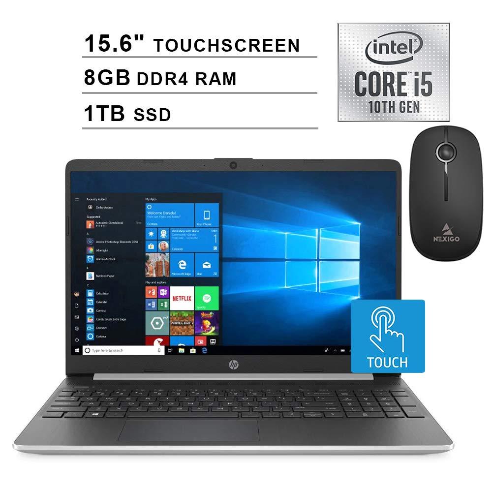 2020 HP Pavilion 15.6 Inch Touchscreen Laptop (Intel 4-Core i5-1035G1 (Beats i7-7500U), 8GB DDR4 RAM, 1TB SSD, WiFi, Bluetooth, Webcam, Windows 10 Home) + NexiGo Wireless Mouse Bundle