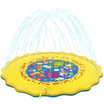 multifun Splash Pad, Sprinkler for Kids, 68 Inches Wading Pool, Outdoor Inflatable Sprinkler Water Toys for Learning, Large Outdoor Sprinkler Pool for Babies, Toddlers