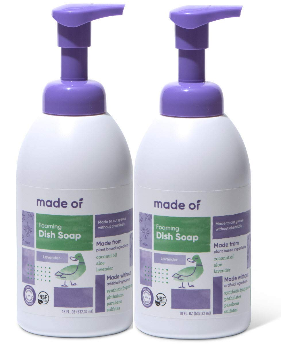 Foaming Organic Baby Dish Soap by MADE OF - No Fragrance - Castile Dish Soap - Baby Bottle Soap - Dermatologist and Pediatrician Tested - NSF Organic and Vegan - 18oz (Mild Lavender, 2-Pack)