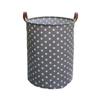 Tsingree Collapsible Laundry Basket, Round Cotton Linen Laundry Hamper, Large Storage Bin for Nursery Hamper and Kids Room (White dots)
