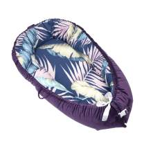 Abreeze Baby Bassinet for Bed Banana Leaf Baby Lounger Breathable & Hypoallergenic Purple Co-Sleeping Baby Bed - 100% Cotton Portable Crib for Bedroom/Travel 0-24Month
