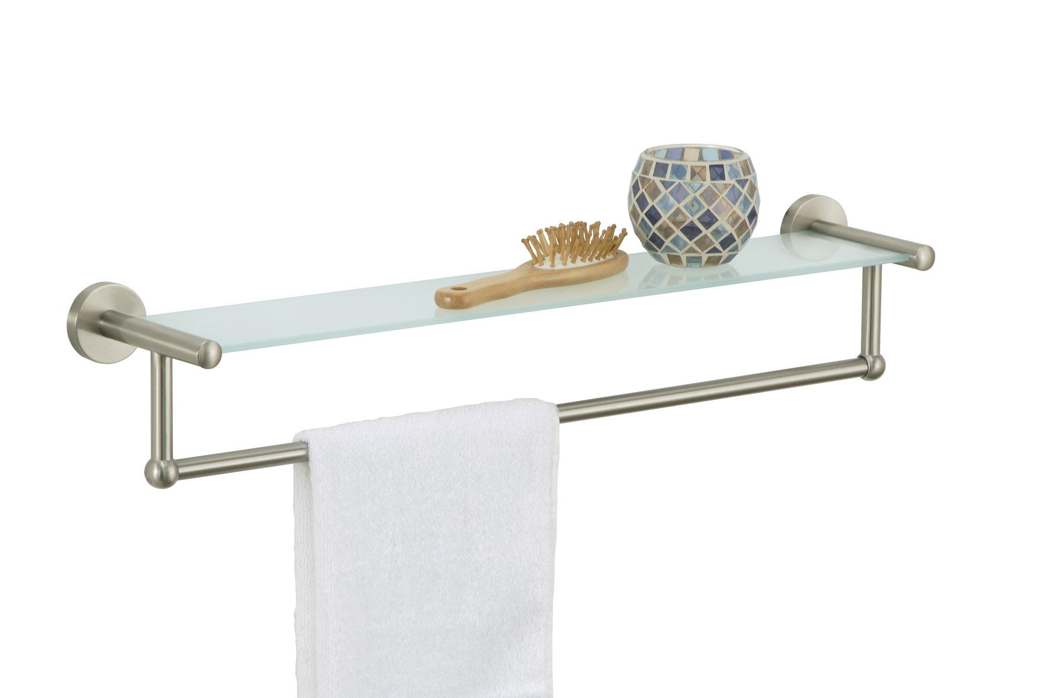 Organize It All 16905W-1 Satin Nickel Glass Shelf with Towel Bar, 1-Pack