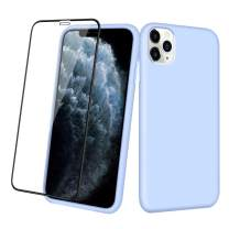 Aemotoy Case for iPhone 11 Pro Max Soft Rubber Silicone Case Full Body Wrapped 2 in 1 with Tempered Glass Anti-Scratch Shock Absorption Slim Cover Case for 2019 Release iPhone 11 Pro Max, Light Blue