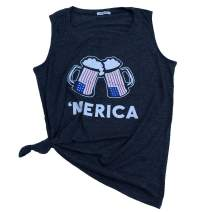 Women's 4Th of July Short Sleeve American Flag T-Shirt Tanks Graphic Tees Tops Summer Funny Cute Tees
