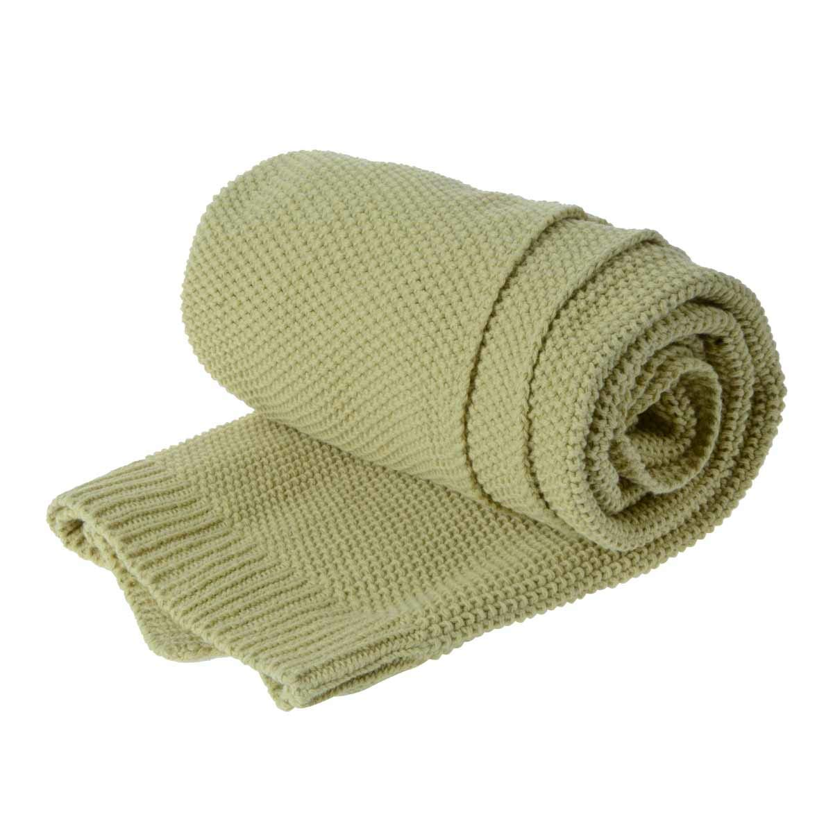 Saim Throw Blanket 100% Cotton Lightweight Throw for Sofa, Chair, Couch, Picnic, Camping, Beach - Cable Knit Blankets, Soft, Cozy Machine Washable Bed Throws, 30 x 40 Inch, Light Yellow Green