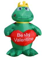 SEASONBLOW 4 Ft LED Light Up Inflatable Valentine's Day Frog Prince Decoration Be My Valentine with Heart for Birthday Wedding Anniversary Party Decor