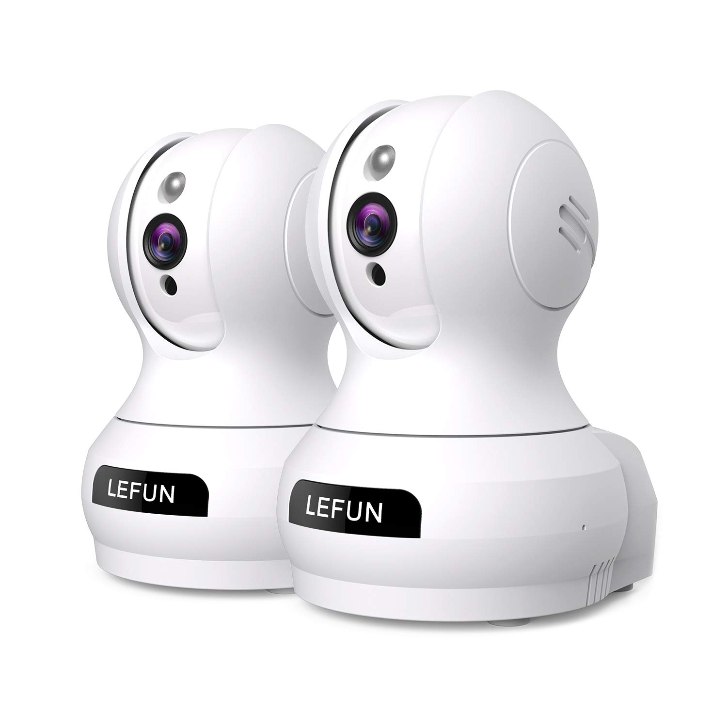 Security Camera, Lefun Indoor WiFi Camera Baby Monitor with Motion Detect Night Vision 2-Way Audio Pan/Tilt/Zoom Supports 2.4G WiFi for Home Surveillance Camera Elder Pet Monitoring (2pack-White)