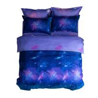 YOUSA Galaxy Sky Cosmos Night Bedding Sets Polyester Bed Cover Set Full (03)