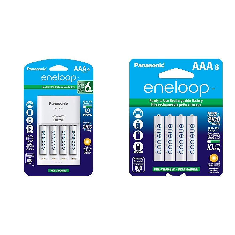 Panasonic K-KJ17M3A4BA Advanced Individual Cell Battery Charger Pack with 4 AAA eneloop 2100 Cycle Rechargeable Batteries & eneloop AAA 2100 Cycle Ni-MH Pre-Charged Rechargeable Batteries, 8 Pack