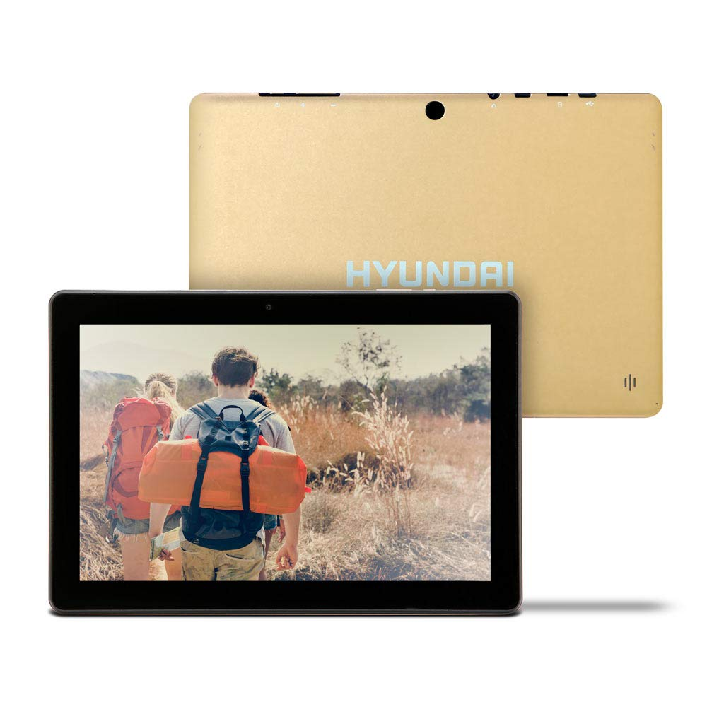 Hyundai Koral 10X3 10 inch Tablet, Android 9.0 Pie, 2 GB RAM, 32 GB Storage, Dual Camera, Quad-Core Processor, 10.1 inch IPS HD Display, Wi-Fi [Gold]