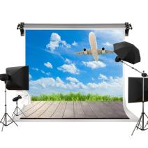 Kate 7x5ft/2.2m(W) x1.5m(H) Spring Backdrop Blue Sky White Clouds Backdrops Wooden Floor Backgrounds Photo Studio Props
