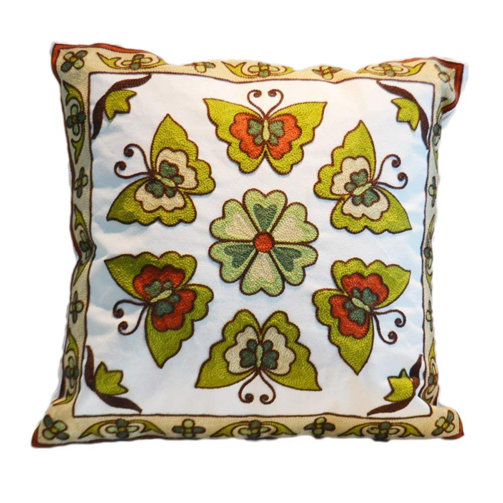 Green Butterfly Decorative Throw Pillow Cover 18X18 - Sofa Lumbar Cushion Cover, Couch Bohemian Modern Embroidery Pillow Case ONLY