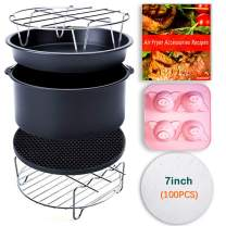 7Inch Air Fryer Accessories,Phillips Air Fryer Accessories and Gowise Air Fryer Accessories Fit all 3.2QT-4.2QT,set of 8