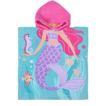 """SearchI Hooded Mermaid Bath Towel for Girls Kids, 100% Cotton Quick Dry Absortbent Soft Beach Towels for Children Toddlers Blue Purple Pink 23""""X24"""""""