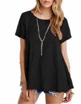 Afibi Womens Basic Short Sleeve Scoop Neck Pockets Swing Tunic Loose T-Shirt