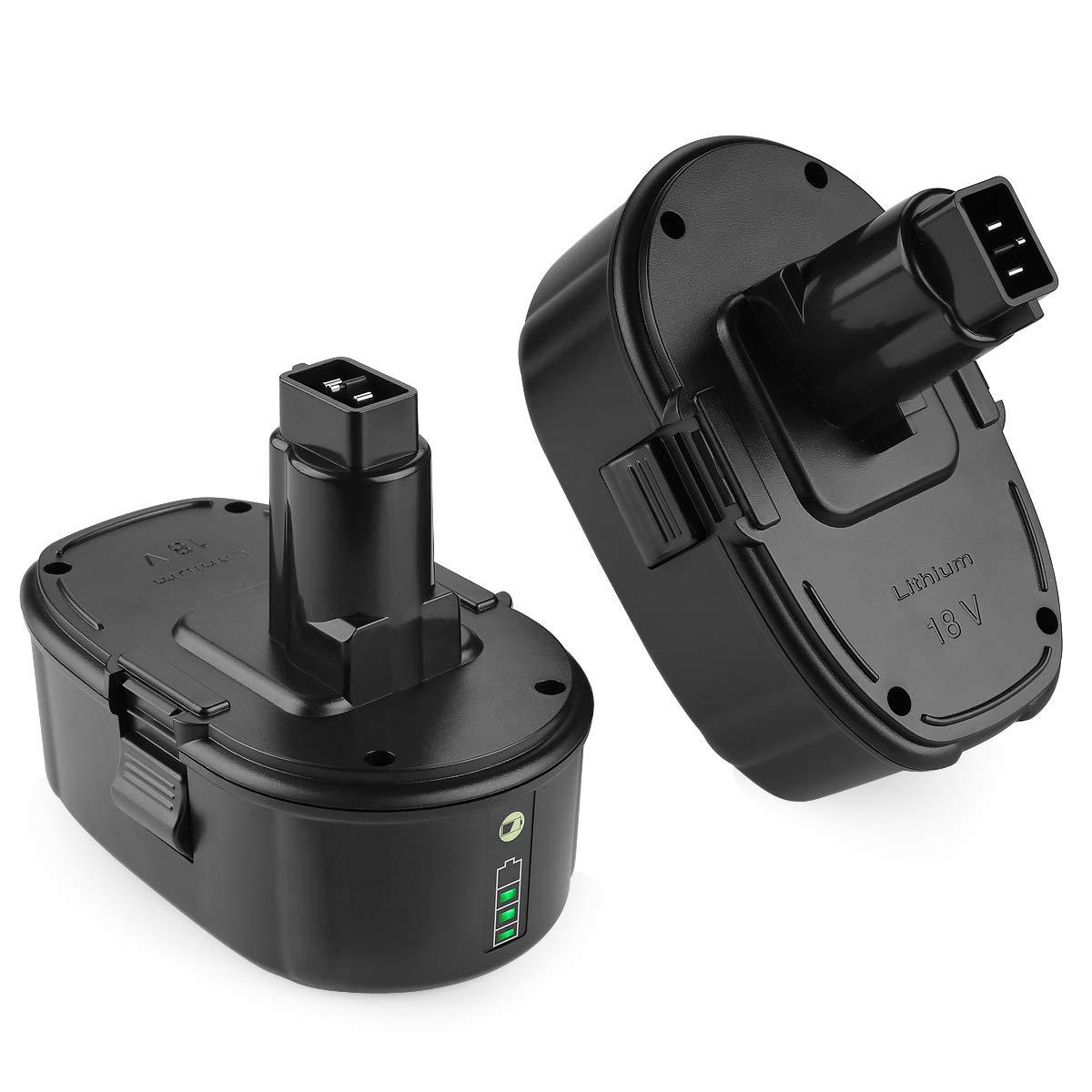 Energup 2Pack Li-ion Replacement Dewalt 18V Battery for Dewalt 18 Volt XRP Ni-Cad Battery DC9096 DC9098 DC9099 DE9039 DE9095 DE9096 DE9098 DW9095 DW9096 DW9098 DE9503 DC9182 18V Dewalt Batteries